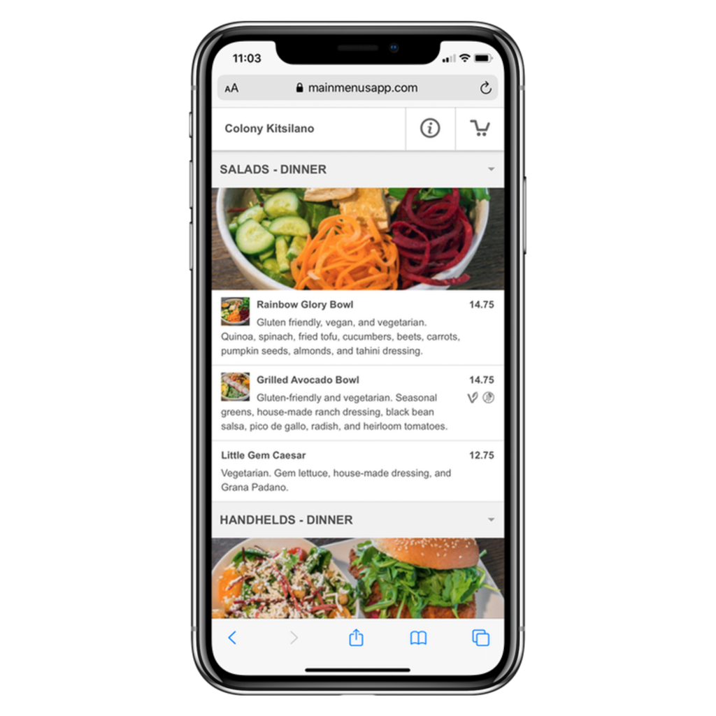 online ordering on iphone